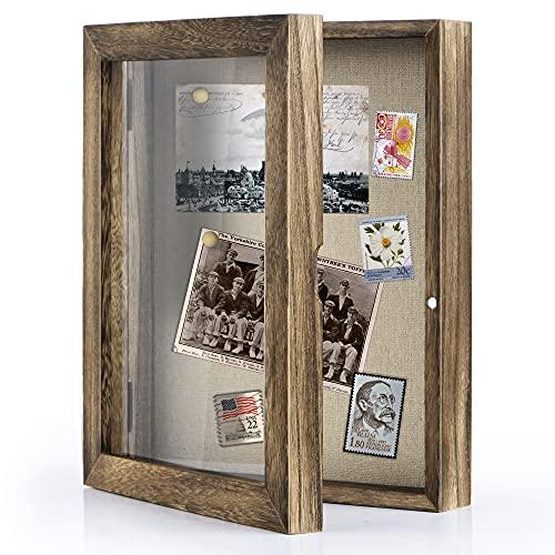 Love-KANKEI Shadow Box Frame Display Case with Linen Back Memorabilia Awards Medals Photos Memory Box