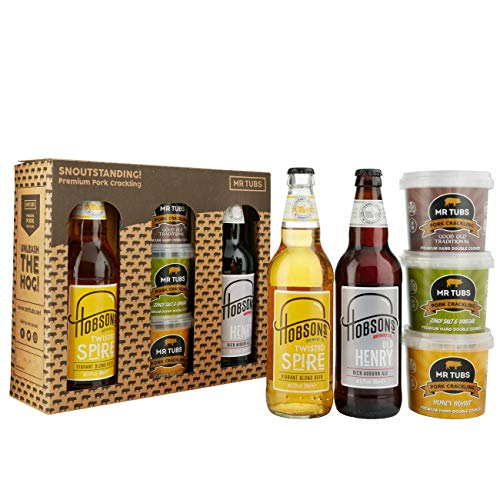 Mr Tubs Premium Double Hand Cooked Pork Crackling Gift Set - with Hobsons Old Henry Real Ale & Twisted Spire Blonde Beer (2 x 500ml Bottles) Gift Case
