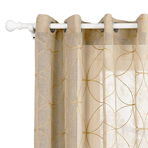 HomeyHo Draperies for Bedroom Curtain Grommet Panel Sheer Drapes and Curtains Grommet Curtain Sheers Curtain Grommet Covers Sheer Curtain Pattern Window Curtains Sheer Pattern, 55 x 86 Inch
