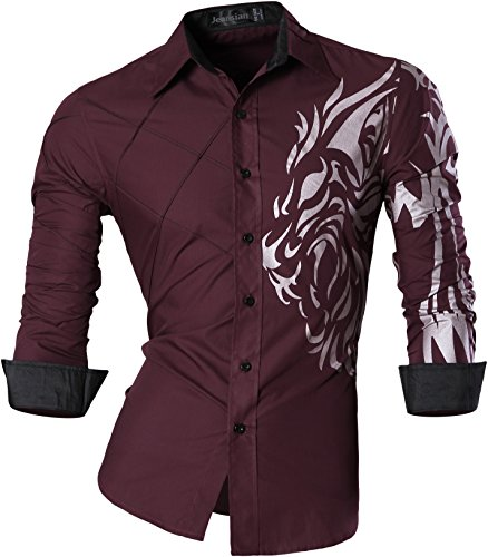 jeansian Men's Slim Fit Long Sleeves Casual Shirts Z030 WineRed XXL