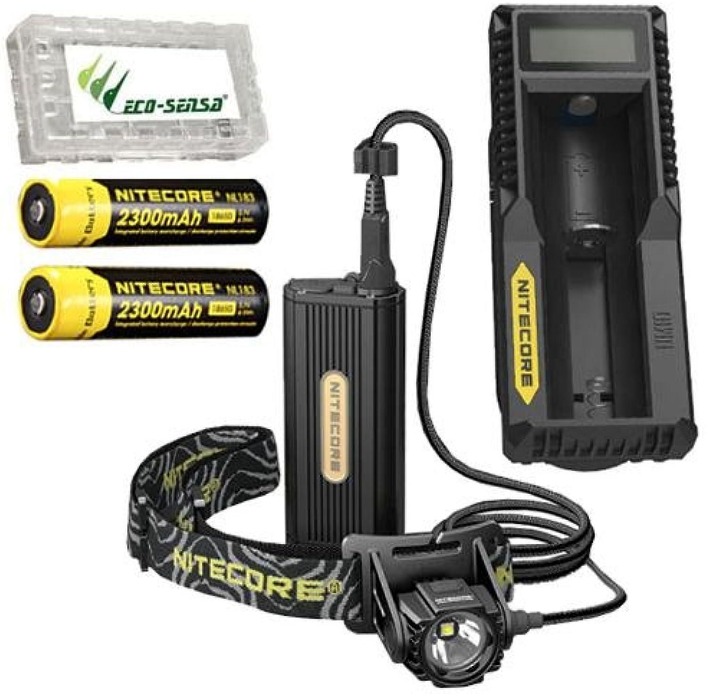 Combo  Nitecore HC70 Rechargeable 1000 Lumen Headlamp w 2x NL183 2300mAh Batteries & UM10 Charger