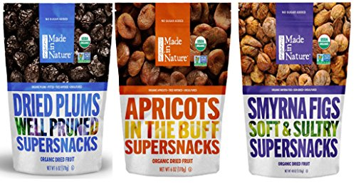 Made In Nature, Organic Dried Fruit Snack Pack - Plums, Smyrna Figs, Apricots - Bundle of 3, Gluten Free, 6 ounce bags