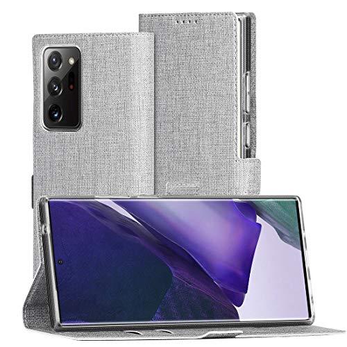 FUNMAX+ für Samsung Galaxy Note 20 Ultra Hülle, PU Leder Handyhülle mit 2 Kartenfächer, Schutzhülle Case Tasche Magnetverschluss Flip Cover Brieftasche Stoßfest für Note20 Ultra 5G (Grau)