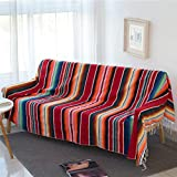 Mexican Serape Blanket with Tassel Bright Colorful Stripe Rainbow Throw Blanket Yoga Beach Blanket Tablecloth Sofa Cover(Red, 60' X 82')