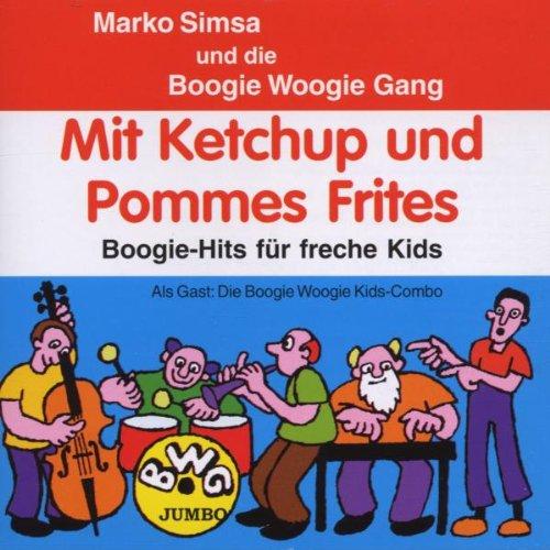 Mit Ketchup und Pommes Frites