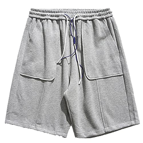 N\P Verano de los hombres de la correa pantalones cortos sueltos de los hombres de los deportes casuales, Gris 2, XX-Large