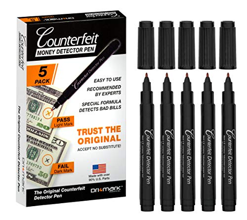 Dri Mark CFD5PK Counterfeit Bill Detector Pen Made in The USA, 3 Times More Ink, Pocket Size - Money Loss Prevention & Fraud Protection for Use w/U.S. Currency (Pack of 5)