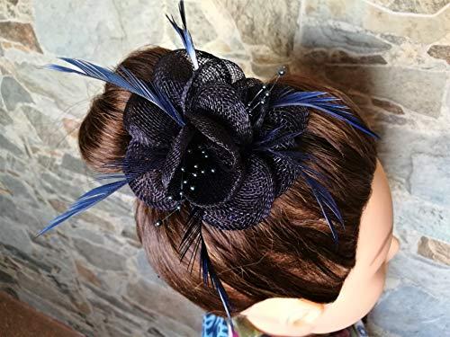 Tocado pamela pinza elegante pelo evento celebración boda comunión FLOR PLUMAS azul...
