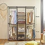 SONGMICS Kleiderschrank, Garderobenschrank mit Gitterablagen aus Eisen, Stoffschrank mit Tür und Kleiderstangen, Aufbewahrungsschrank, Vliesstoff, fürs Schlafzimmer, schwarz RYM34BK - 2