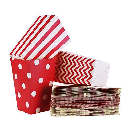 FLOWOW Scatole di Popcorn 36PCS scatola degli spuntini Contenitori di Popcorn Contenitori di Caramelle per Spuntini del Partito, Dolci, Popcorn e Regali,Stoviglie monouso, festa del neonato rosso