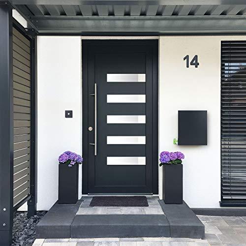 MOCAVI Box 111 Design-Briefkasten mit Zeitungsfach anthrazit-grau (RAL 7016) Wandbriefkasten, Schloss rechts, groß, Aufputzbriefkasten dunkelgrau, Postkasten anthrazitgrau modern mit Zeitungsrolle - 2