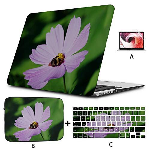 Macbook 13 Case Bumblebee Bee Flower Leaf Nature Green Purple Macbook Case Hard Shell Mac Air 11'/13' Pro 13'/15'/16' With Notebook Sleeve Bag For Macbook 2008-2020 Version