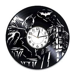 Kovides Movie Original Home Decor Batman Wall Clock 12 Inch for Fan Batman Vinyl Record Wall Clock Dc Comics Handmade Clock Gotham Birthday Gift Idea for Boy