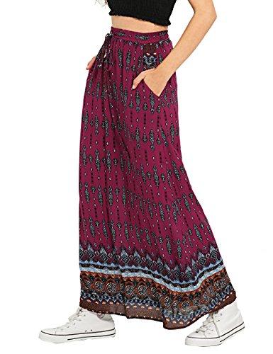 Milumia Women's Boho Vintage Print Pockets A Line Maxi Skirt Large Red
