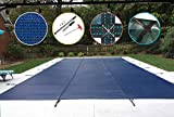WaterWarden Safety Inground Pool Cover, Fits 12' x 24', Blue Mesh – Easy Installation, Triple...