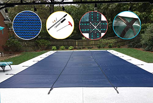 WaterWarden Safety Inground Pool Cover, Fits 16' x 32', Blue Mesh – Easy Installation, Triple Stitched for Maximum Strength, Includes All Needed Hardware, SCMB1632, Rectangle