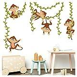 Little Deco Wandaufkleber Affen an Lianen I Wandbild 98 x 53 cm (BxH) I Wandsticker Aufkleber Kinderzimmer Junge Wandtattoo Mädchenzimmer Sticker DL500