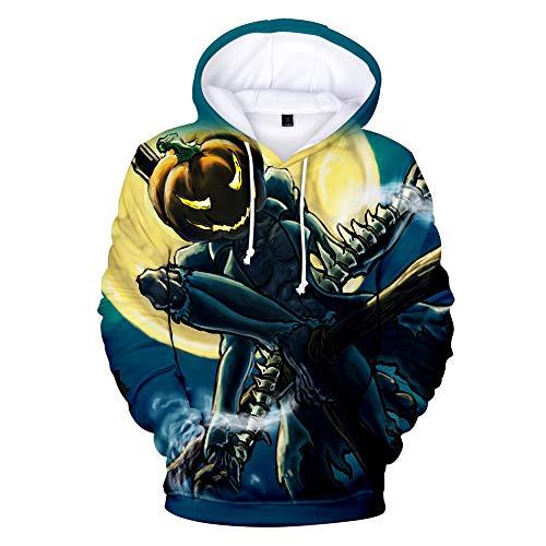 x8jdieu3 Sudadera con Capucha de impresión Digital de Halloween 3D Manga Larga Sudadera con Capucha de Lana Suelta suéter cálida Camisa de Pareja