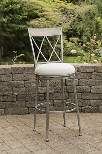Hillsdale Stewart Indoor/Outdoor Swivel Bar Stool, Counter, Aged Pewter