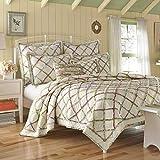 Laura Ashley Home | Ruffle Garden Collection | Luxury Premium Ultra Soft Quilt Coverlet, Comfortable & Lightweight All Season Bedspread, Full/Queen, Cream