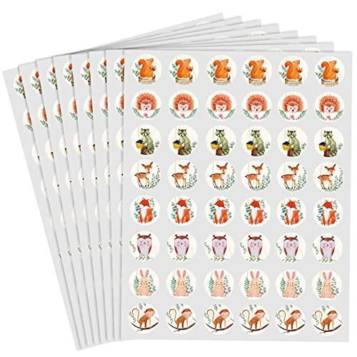 384 Adesivi Rotondi per Bomboniere con Creature del Bosco Etichette Circolari per Buste con Animali di Foresta Sigilli Adesivi per Cioccolato per Bambini Baby Shower Decorazioni per Feste