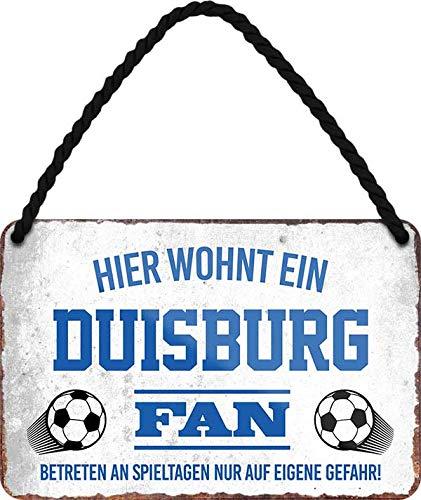 Blechschilder HIER WOHNT EIN Duisburg Fan Hängeschild für Fußball Begeisterte Deko Artikel Schild Geschenkidee 18x12 cm