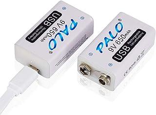 Palo USB 9v 650mAh Batería Recargable de Ion de Litio con Cable USB para Alarma de