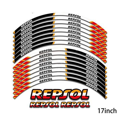 Motos Pegatinas Rueda de la Motocicleta Calcomanías Reflectante Pegatinas de la Etiqueta de 17 Pulgadas del Borde for Repsol CBR1000RR CBR600RR F5 CBR 1000 600 (Color : Orange)