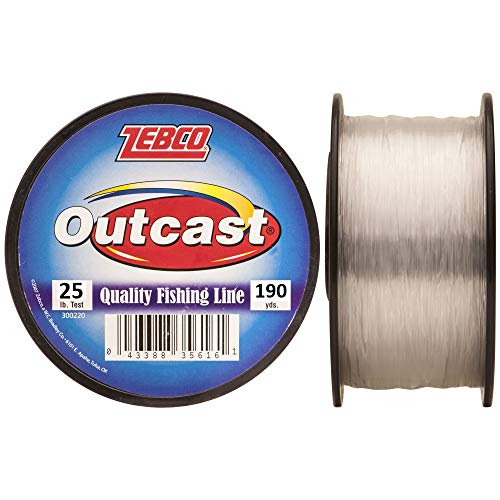Zebco Outcast Monofilament Fishing Line, 190-Yards of 25-Pound Tested Line, Low Memory and Stretch with High Tensile Strength,...
