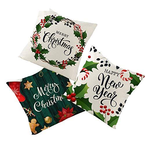 Beydodo Funda Cojines Navidad,3 PCS de Fundas de Cojin Fundas de Cojín 50X50,Guirnalda Hojas Merry Christmas Happy New Year Beige Rojo