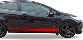 Bubbles Designs 2X Decal Sticker Vinyl Side Racing Stripes Compatible with Ford Fiesta Mark VI, 6th Gen 2008-2016