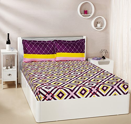 Solimo Diamond Dreams  144 TC 100% Cotton Double Bedsheet with 2 Complimentary Pillow Covers - Violet