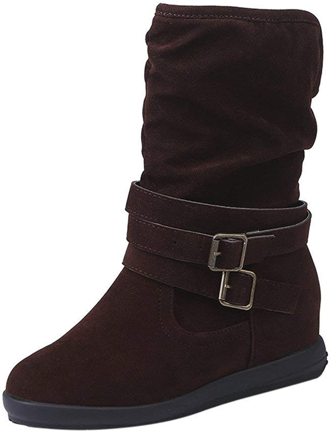 F1rst Rate Snow Boots Women's Winter Warm Booties Low Wedge Buckle Biker Ankle Trim Flat Ankle Boots shoes