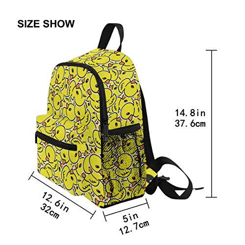 Chic Houses Cute Yellow Duck Q Version Cartoon School Bag Bookpack Funny Rubber for Kids Casual Daypack Kids Elementary Bag Travel Outdoor Backpack for Boys Girls 2030496