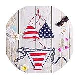 Stars Striped Bikini Set 2019 Swimwear Women Flag Bikini Sexy Swimsuit Bathing Suit Push up Biquinis,Red,XXL