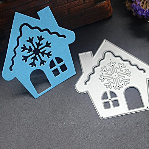 Lulujan Christmas House Cutting Dies Stencils Carbon Steel Metal Mould Puzzle for DIY Scrapbooking Embossing Arts Crafts Paper Card Photo Album Decor Adults Kids Gifts