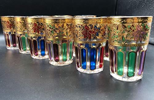 12 Vasos de Cristal para Té marroquí Multicolor