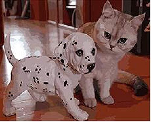 Pictur Cucciolo di Dalmata e Gattino Dipinto dai Numeri su Tela Dipinta a Mano Digitale Foto Arte della Parete per Soggiorno