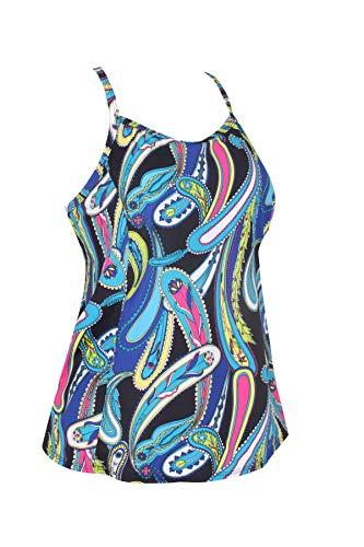 JINXUEER Women's Plus Size Flowy Swimsuit Crossback Tankini Top Modest Swimwear (Blueblack, 26)