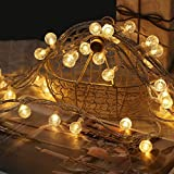 Globe Ball String Lights, 49 FT 100 LED Fairy Lights Plug in 8 Modes with Remote Control, Decor for Patio Garden, Indoor, Outdoor, Christmas, Party (Warm White)