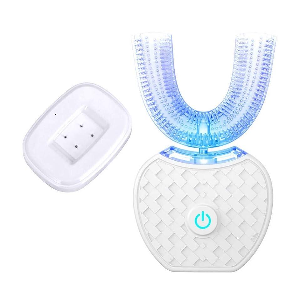 自動歯ブラシUタイプ4モード超音波電動歯ブラシUsb充電式青冷光歯ホワイトニング、A
