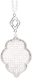 Womens Trendy Pave Rhinestone Long Chain Quatrefoil Pendant Necklace Dangle Earrings