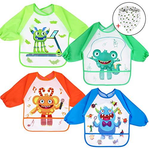 Lictin Baberos Bebes Impermeables-4PCS Baberos con Mangas Impermeables con Baberos Bandanas, Baberos Bebe Impermeables con Escote Ajustable de Patrón de Monstruo para Bebes de 0-2 Año