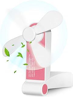 Bornran Tragbarer Mini Lüfter Klein Faltbarer Handventilator Wieder aufladbarer persönliche Taschenventilator Batterie betriebener Reise Ventilator USB Schreibtisch-Fan für Büro, Haus, Outdoor Rosa