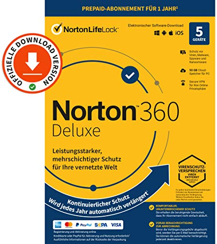 Norton 360 Deluxe 2021 | 5-Geräte | 1-Jahres-Abonnement mit Automatischer Verlängerung | Secure VPN und Passwort-Manager | PC/Mac/Android/iOS | Aktivierungscode per Email