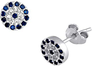 Bevilles Sterling Silver White and Blue Cubic Zirconia Stud Earrings