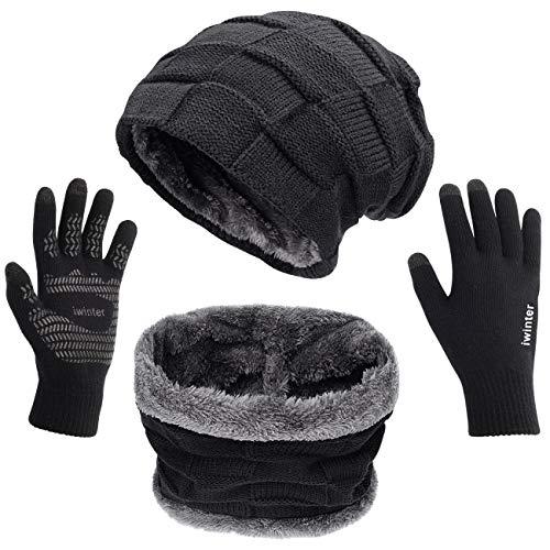 Petrunup 2/3 Stuks Winter Warm Gebreide Slouch Beanie Muts Skiën Nekwarmer Sjaal Handschoenen Reeks met Dubbellaags Fleece Voering voor Mannen Dames