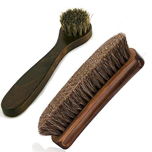 "Horsehair Shoe Brushes MoYag 6.7"" Large Shoe Shine Brush Long Handle Dauber Brush for Leather Care (2 Pack)"