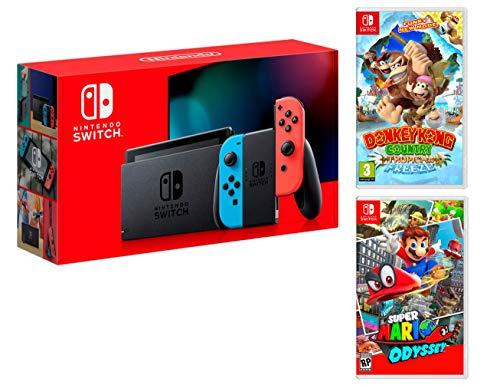 Nintendo Switch Rouge/Bleu Néon 32Go [Nouveau modèle] + Super Mario Odyssey + Donkey Kong: Tropical Freeze
