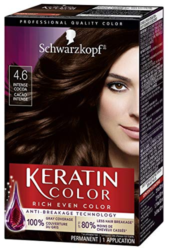 of home hair colours dec 2021 theres one clear winner Schwarzkopf Keratin Color Permanent Hair Color Cream, 4.6 Intense Cocoa (Packaging May Vary)